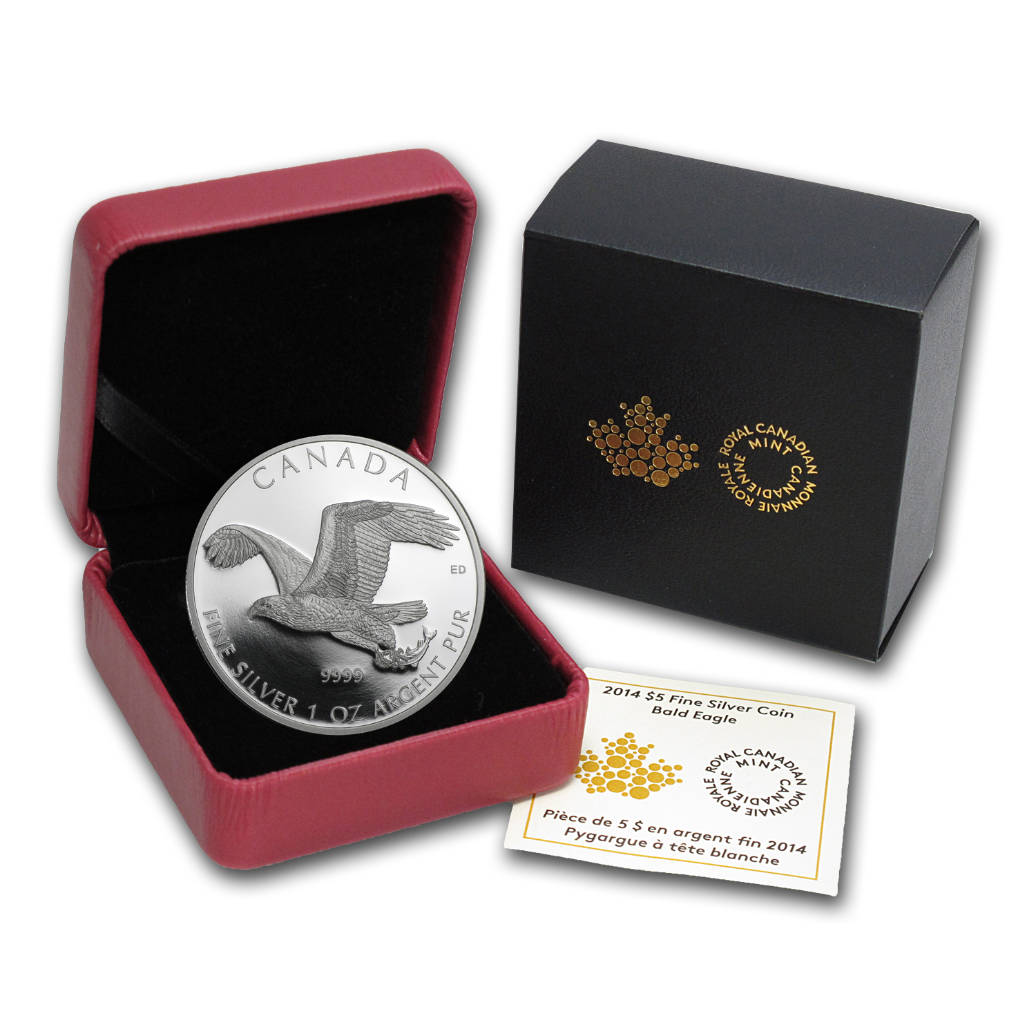 2014 Canada 1 oz Silver Bald Eagle Proof (w/Box & COA)