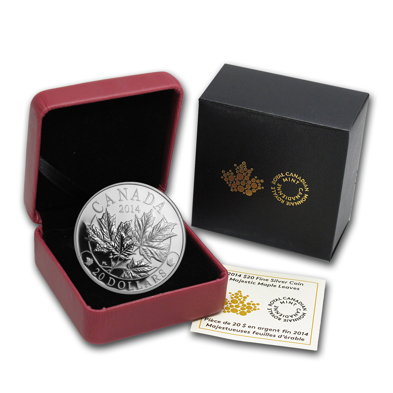 2014 Canada 1 oz Silver Majestic Maple Leaves Proof