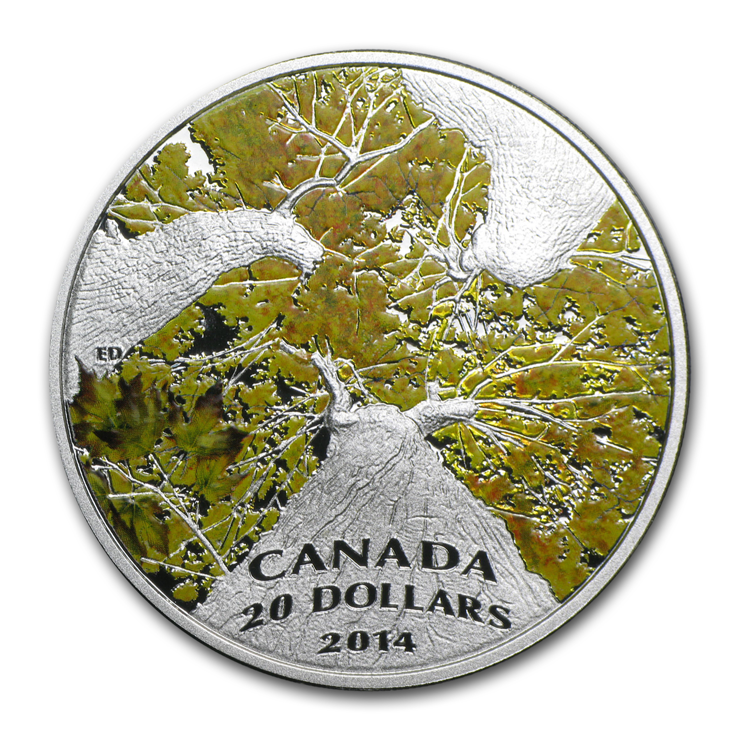 2014 1 oz Silver Canadian $20 Maple Canopy (Autumn Allure)