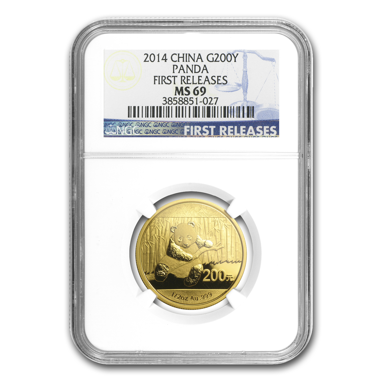 2014 1/2 oz Gold Chinese Panda MS-69 NGC (FR)
