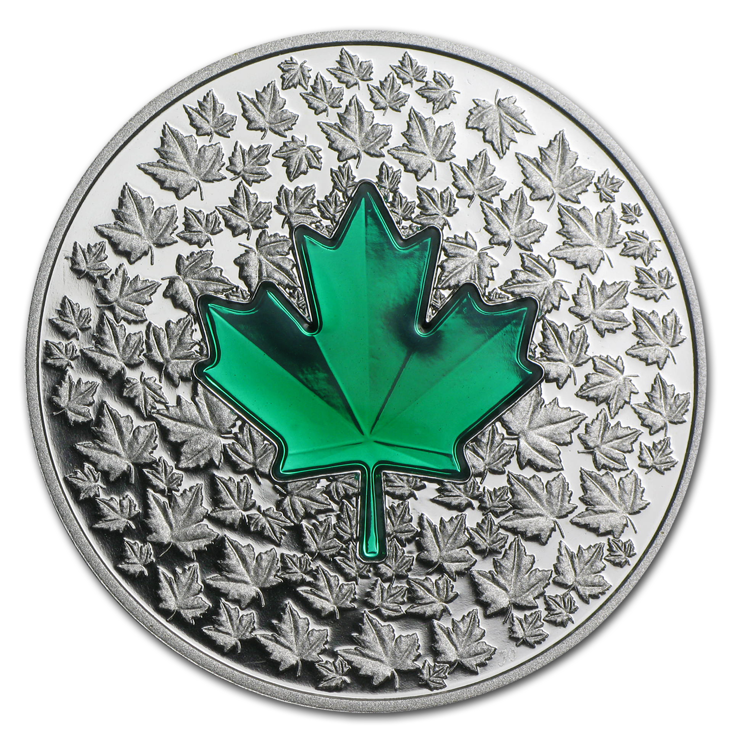 2014 1 oz Silver Can. $20 Maple Leaf Impression (Green Enamel)