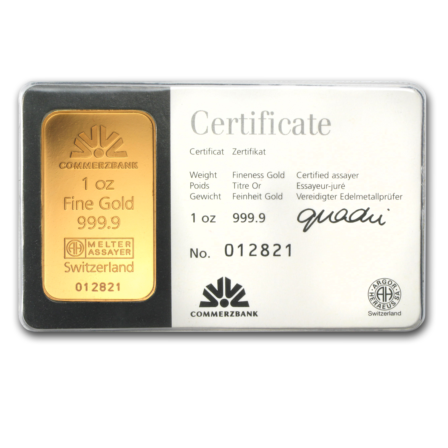 1 oz Gold Bar - Commerzbank (In Assay)