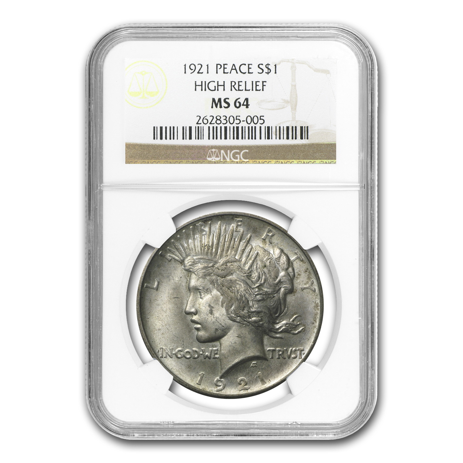 1921 Peace Dollar MS-64 NGC (Toned)