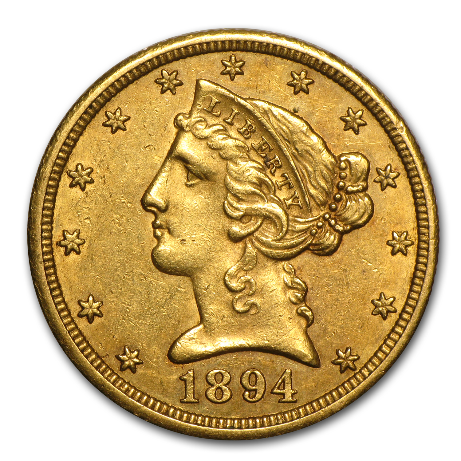 1894-O $5 Liberty Gold Half Eagle - Almost Uncirculated