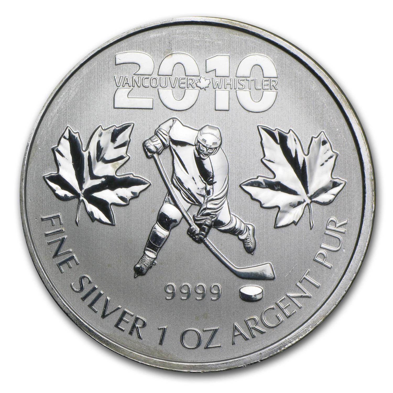 2010 Canada 1 Oz Silver Olympic Hockey Abrasions 2010