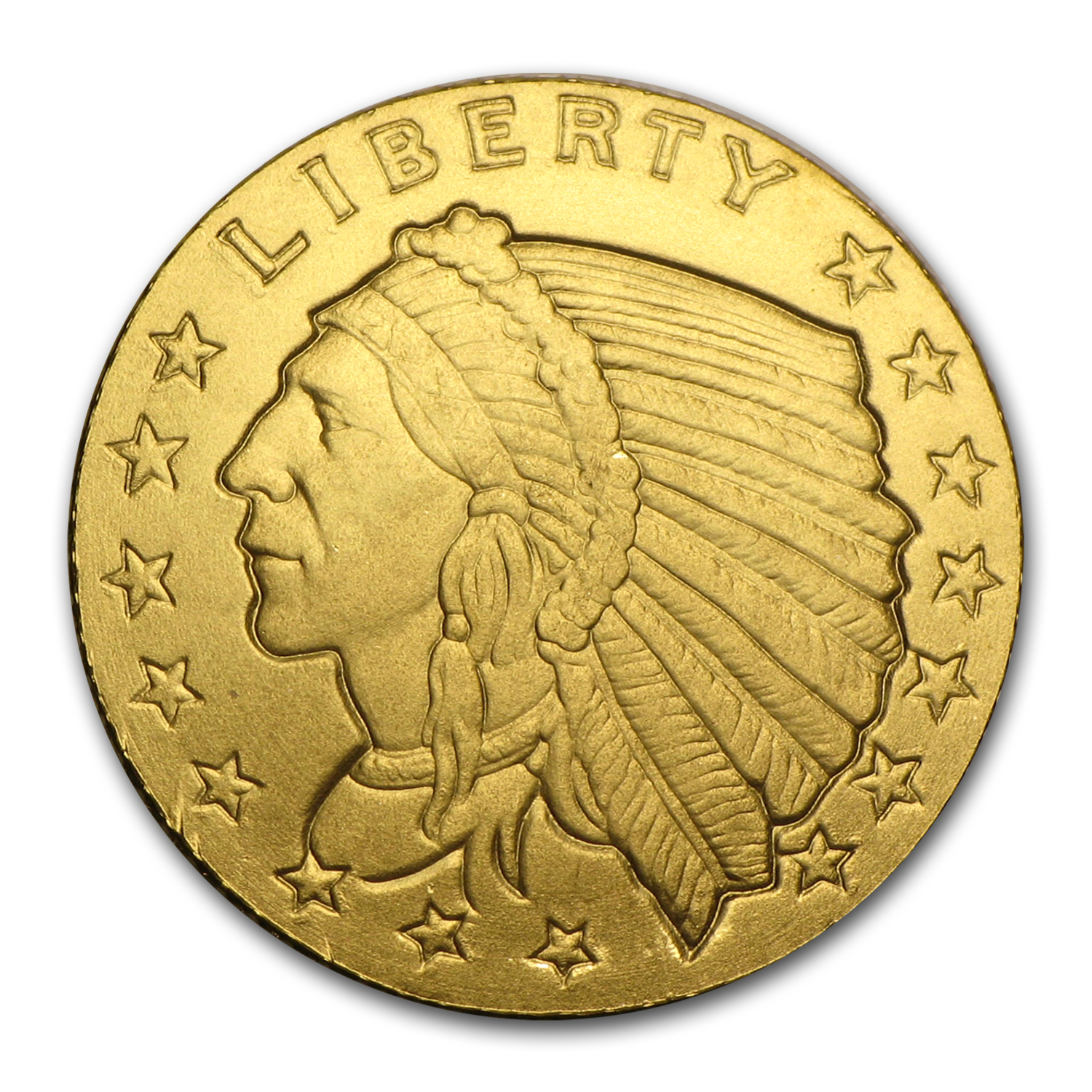 1/10 oz Gold Round - Incuse Indian (.9999 Fine)