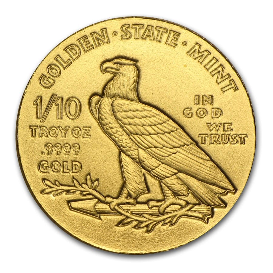 1/10 oz Gold Round - Incuse Indian