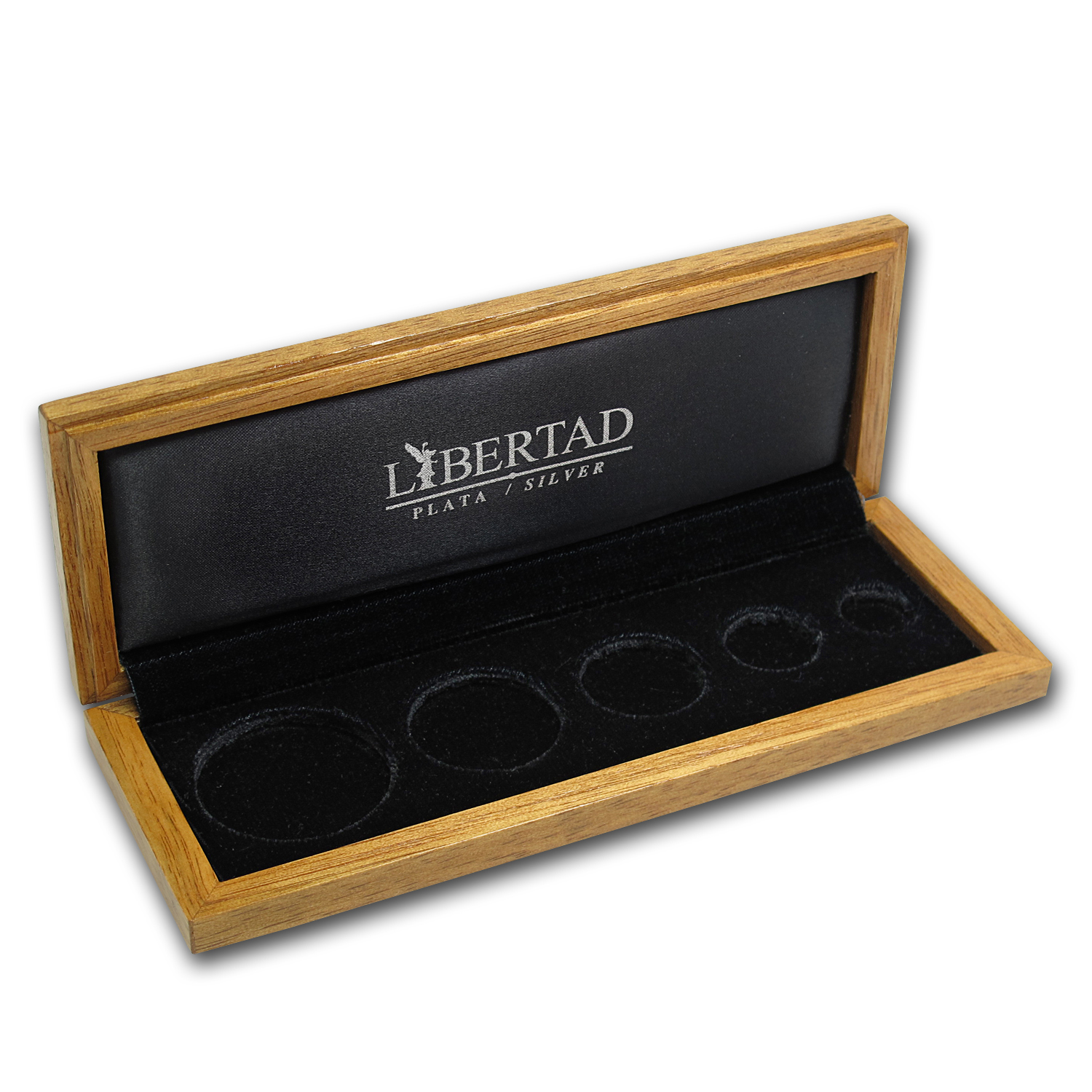 Libertad 5 coin Wood Presentation Box Banco de Mexico (Silver)