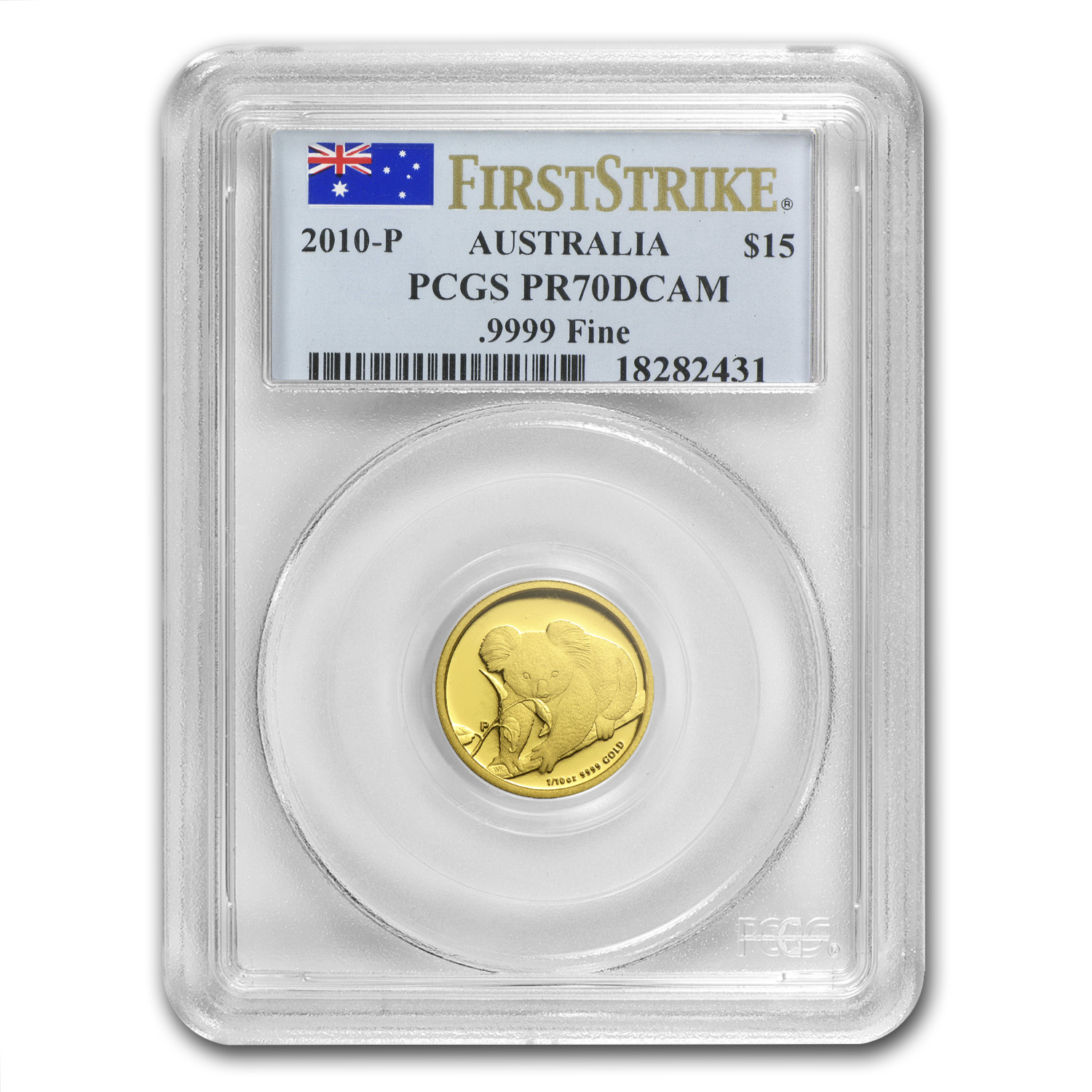 2010-P Australia 1/10 oz Gold Koala PR-70 PCGS (First Strike)
