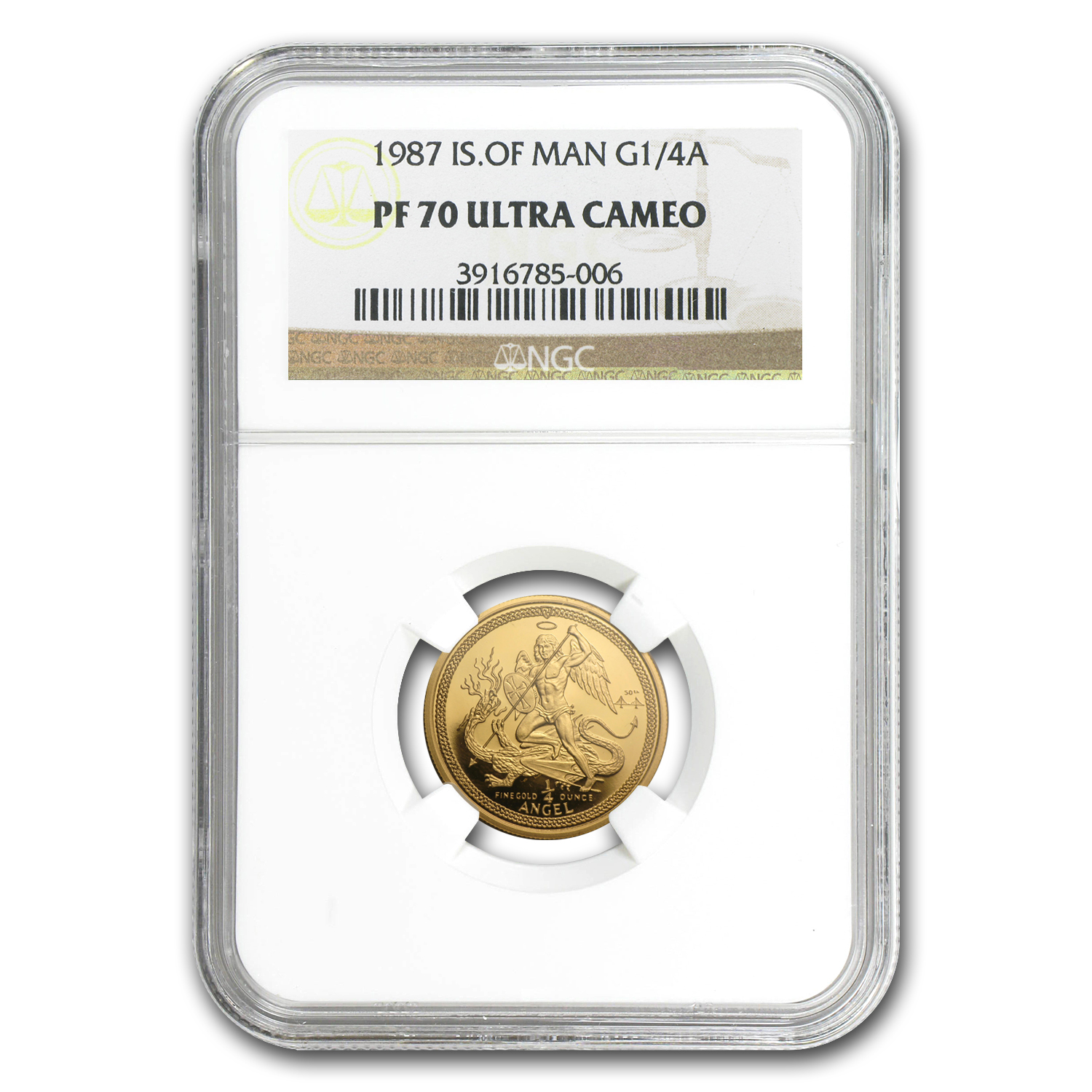 Isle of Man 1987 1/4 oz Gold Angel - PF-70 UC NGC