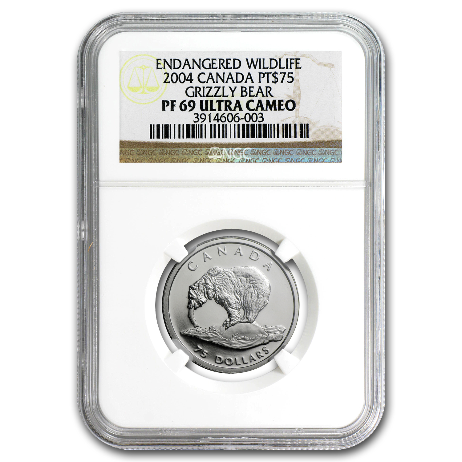2004 1/4 oz Proof Platinum Canadian Grizzly Bear PF-69 NGC