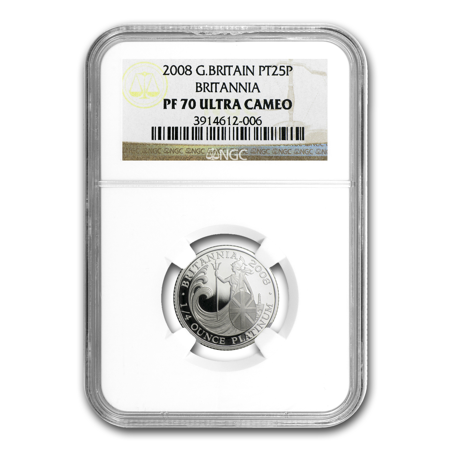 2008 Great Britain 1/4 oz Proof Platinum Britannia PF-70 NGC