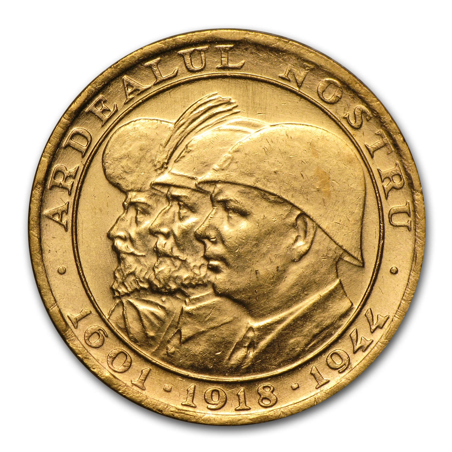 1944 Romania Gold 20 Lei 3 Kings AU
