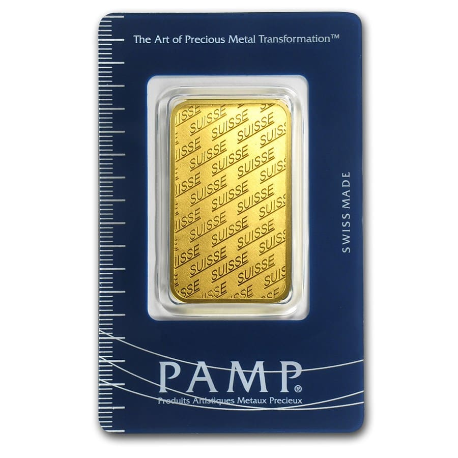 1 oz Gold Bar - Pamp Suisse (New Design, In Assay)