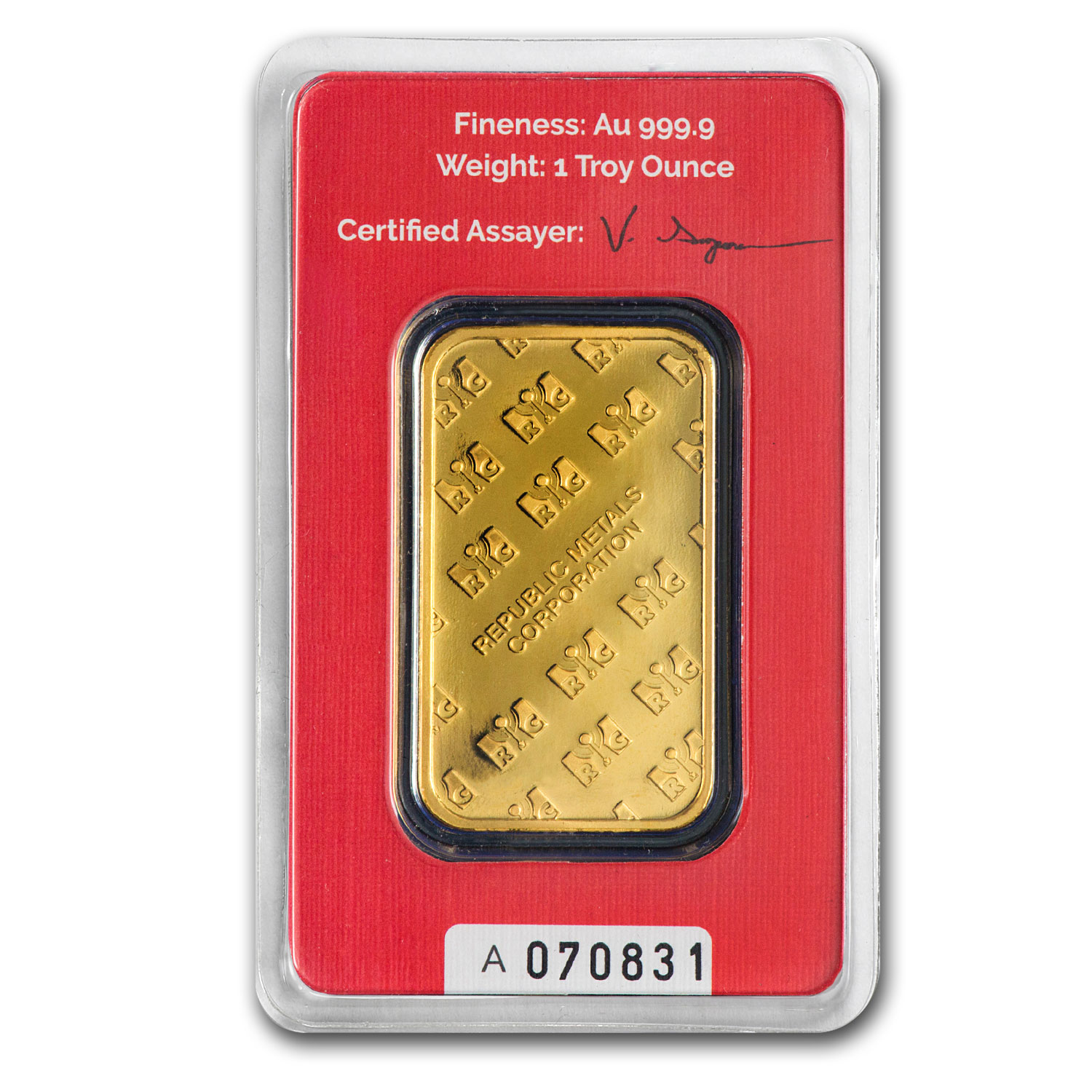1 oz Gold Bar - Republic Metals Corporation (In Assay)(Oct 10th)