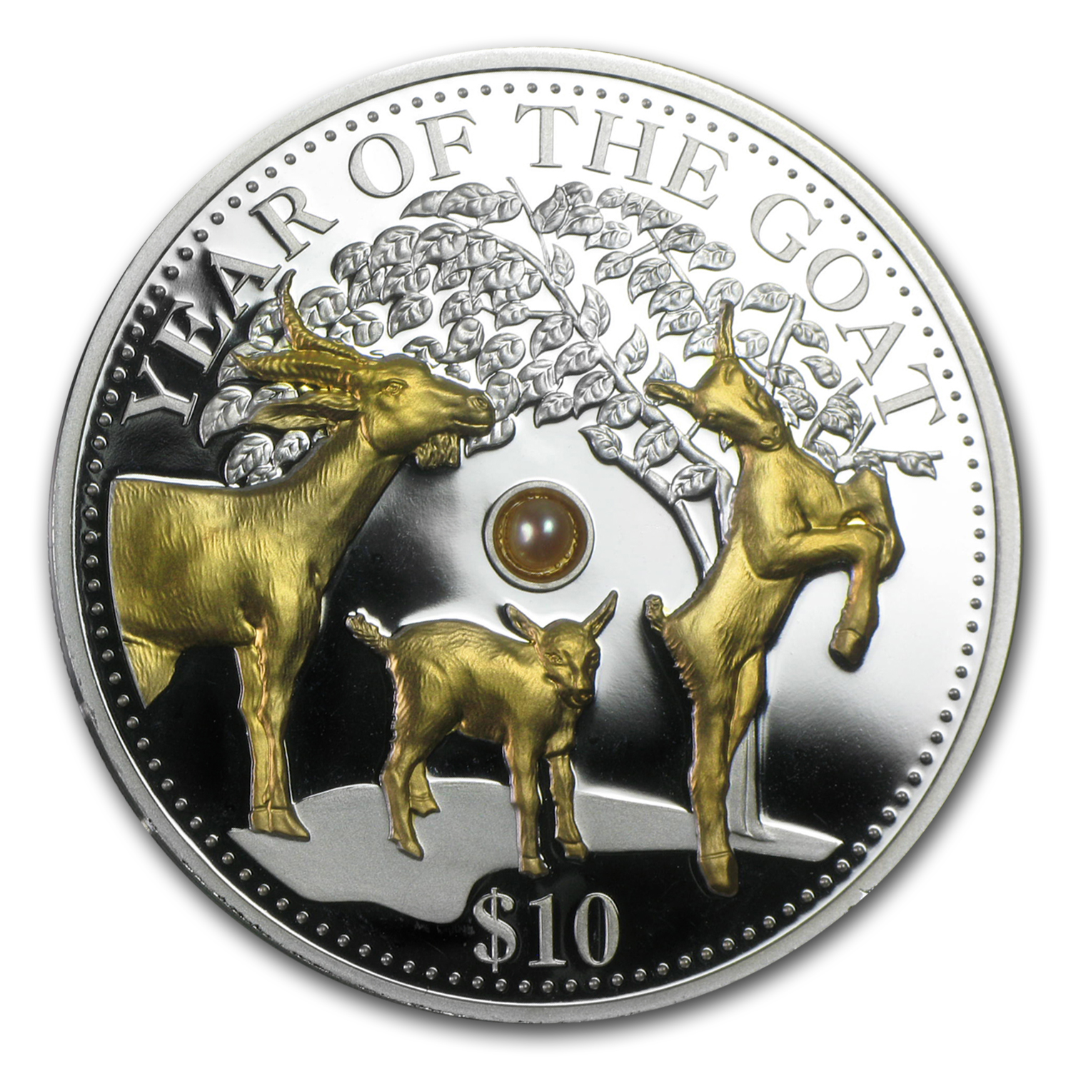 Fiji 2015 1 oz Silver Year of the Goat (Gold Gilded with Pearl)