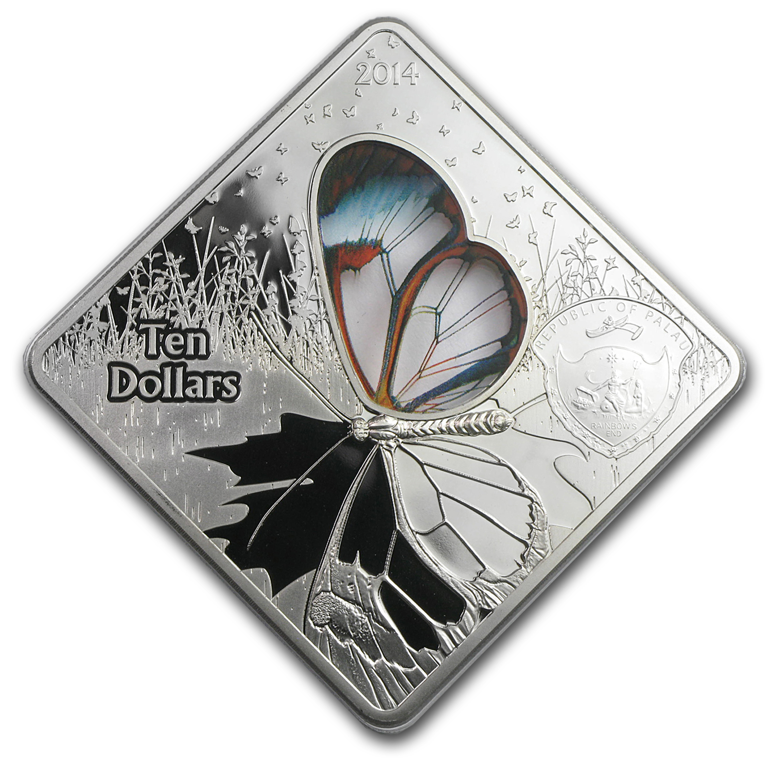 2014 Palau Proof Silver $10 Glasswing Butterfly