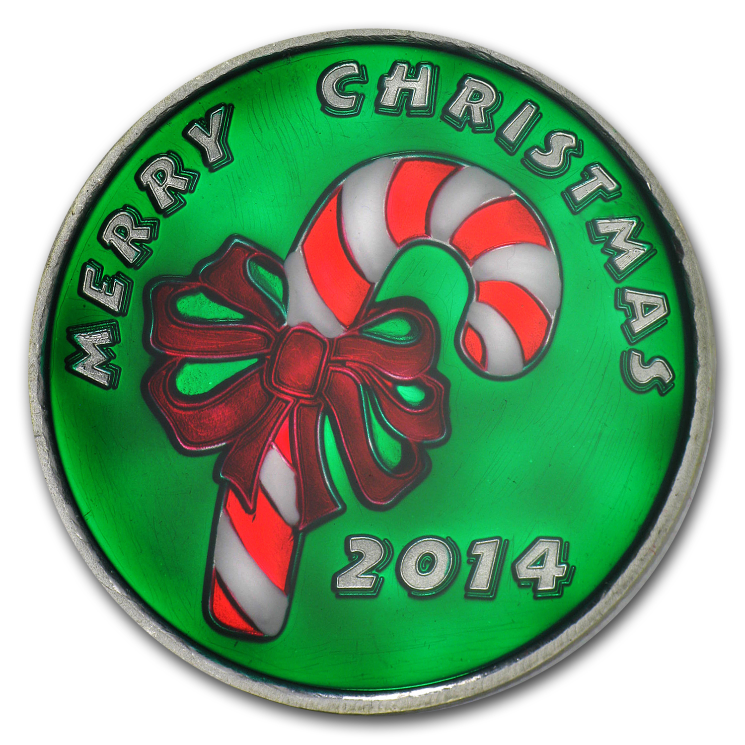 1 oz Silver Round - Merry Christmas Candy Cane (Enameled)