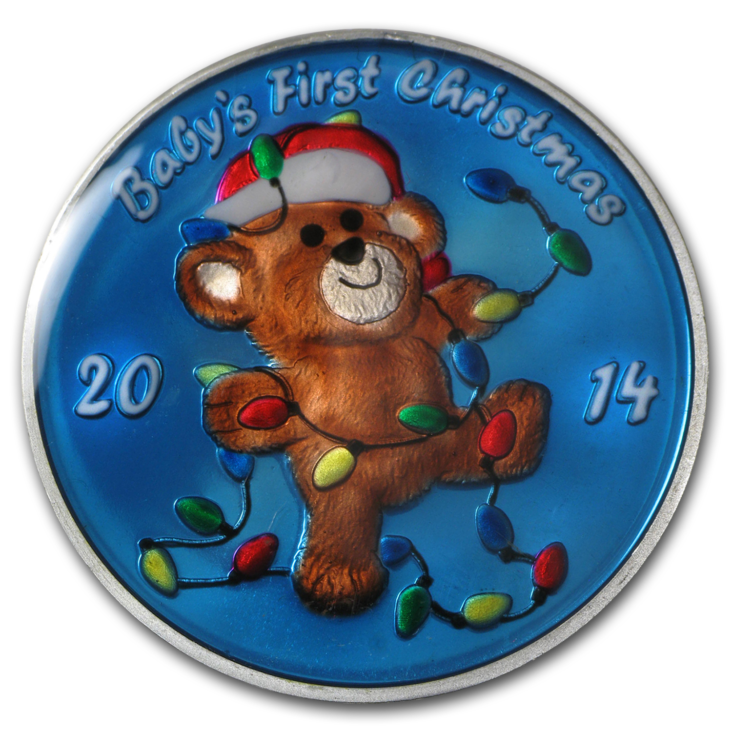 1 oz Silver Round - Baby's First Christmas Teddy (Enameled)