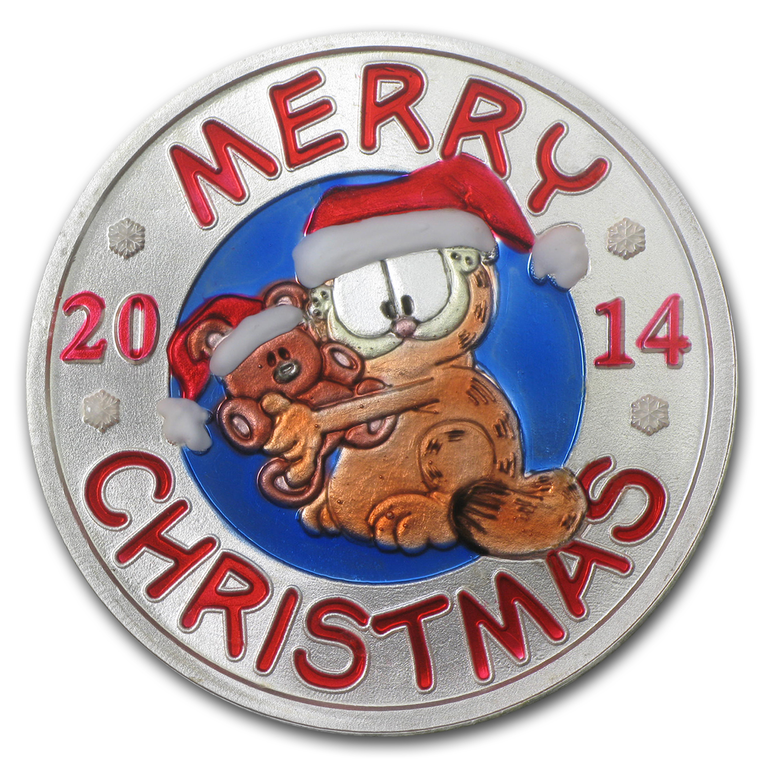 1 oz Silver Round - Merry Christmas Garfield (Enameled)