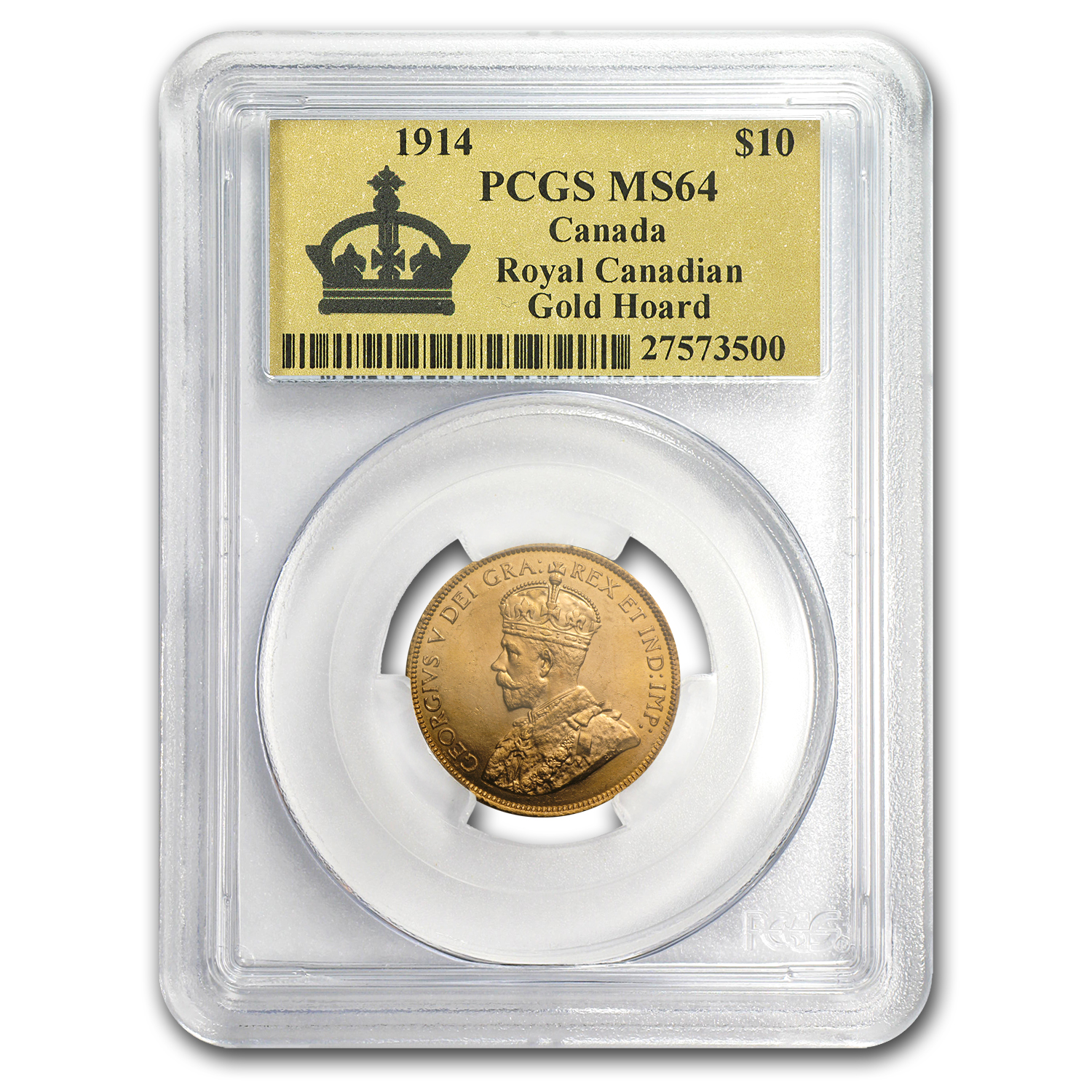 1914 Canada Gold $10 Reserve MS-64 PCGS