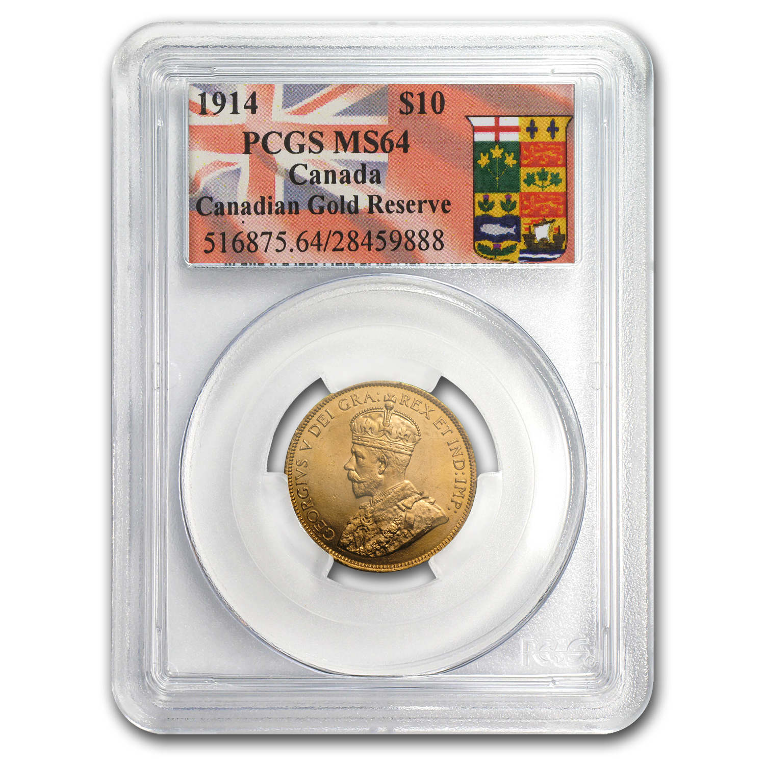 Canada 1914 $10 Gold Reserve George V MS-64 PCGS