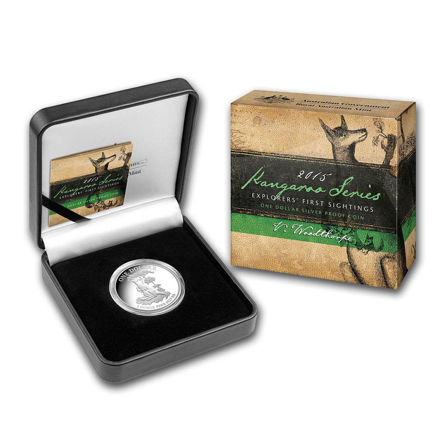 2015 Australia 1 oz Proof Silver Kangaroo (w/Box and COA)