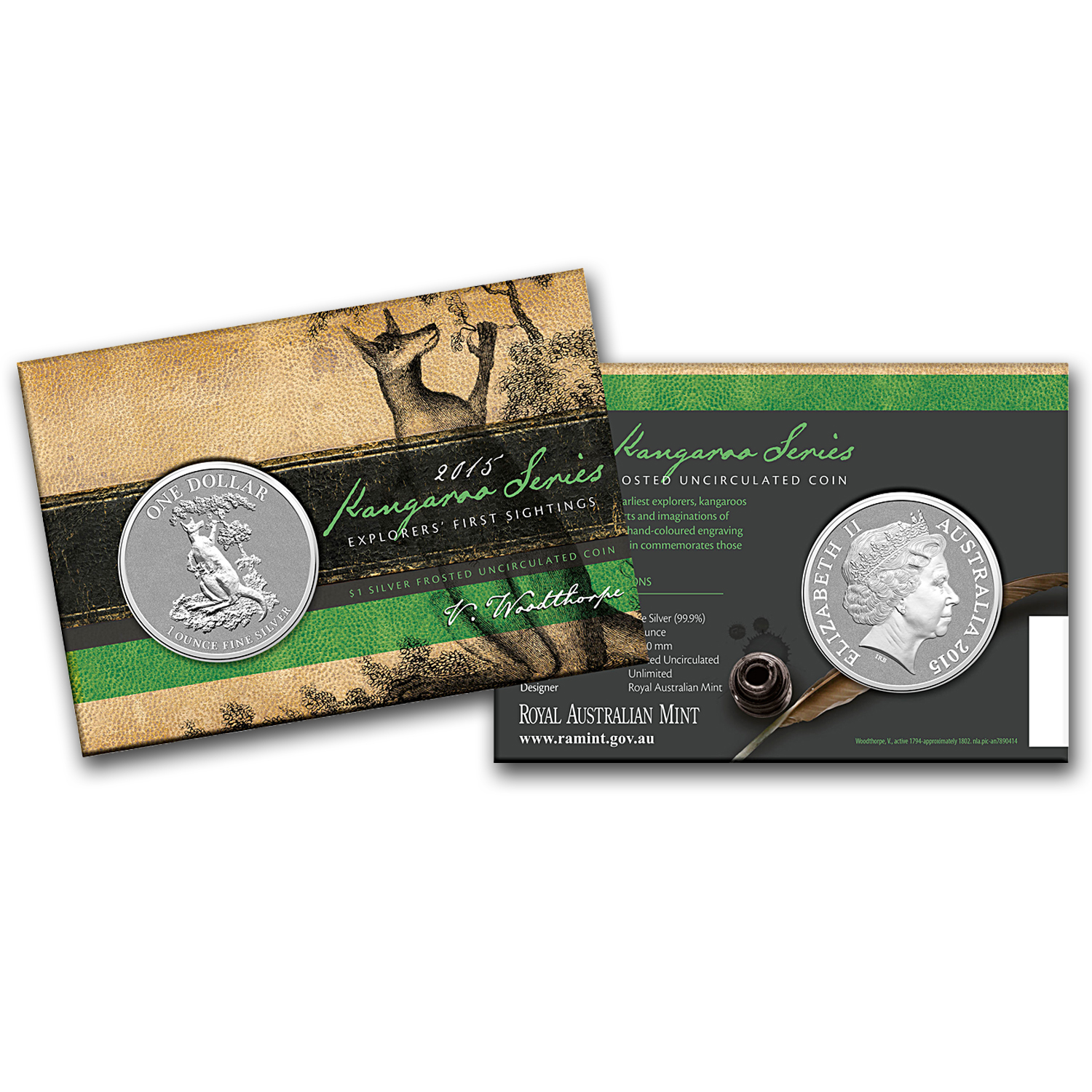 2015 Australia 1 oz Silver Kangaroo (In Display Card)