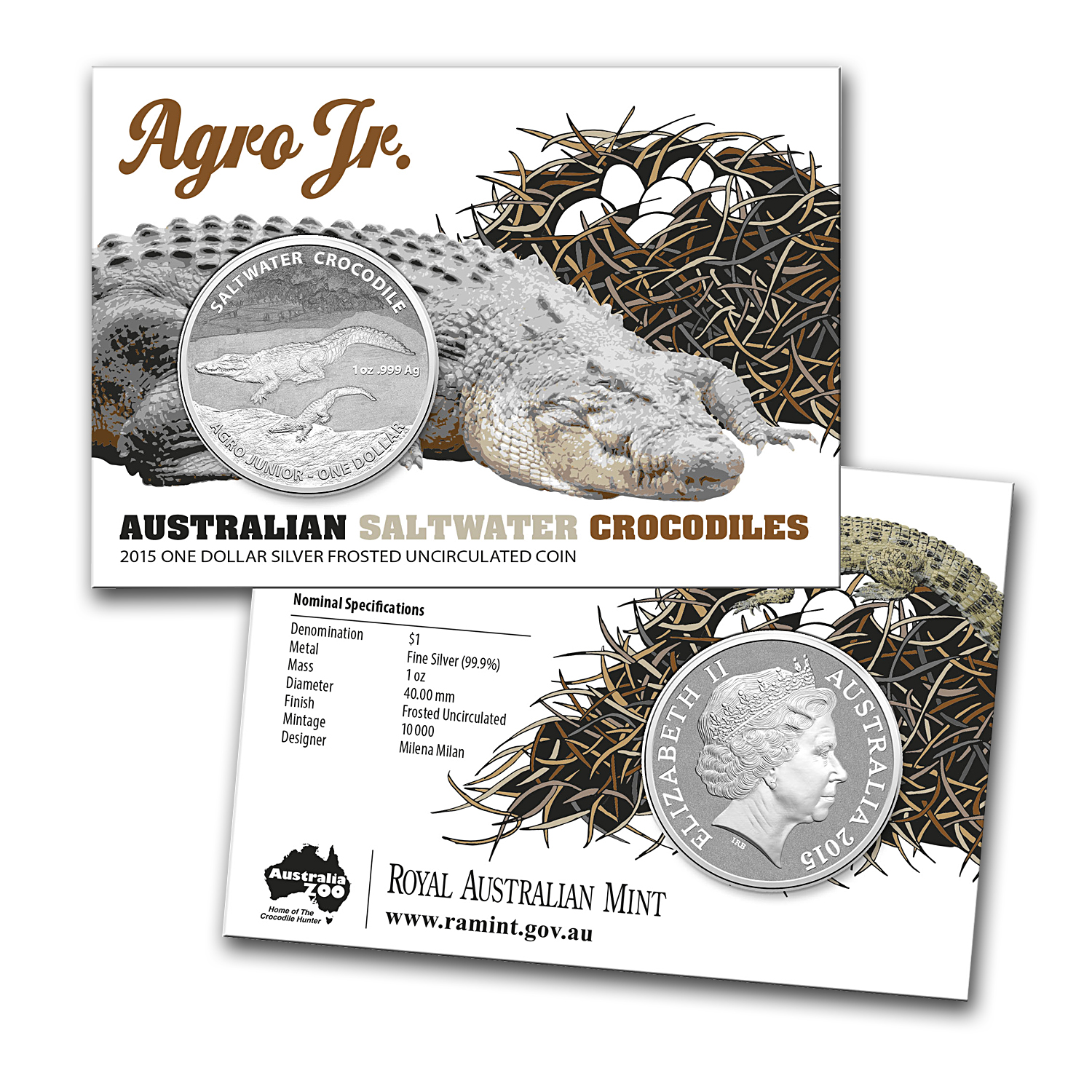 2015 Australia 1 oz Silver Saltwater Crocodile (Agro Junior)