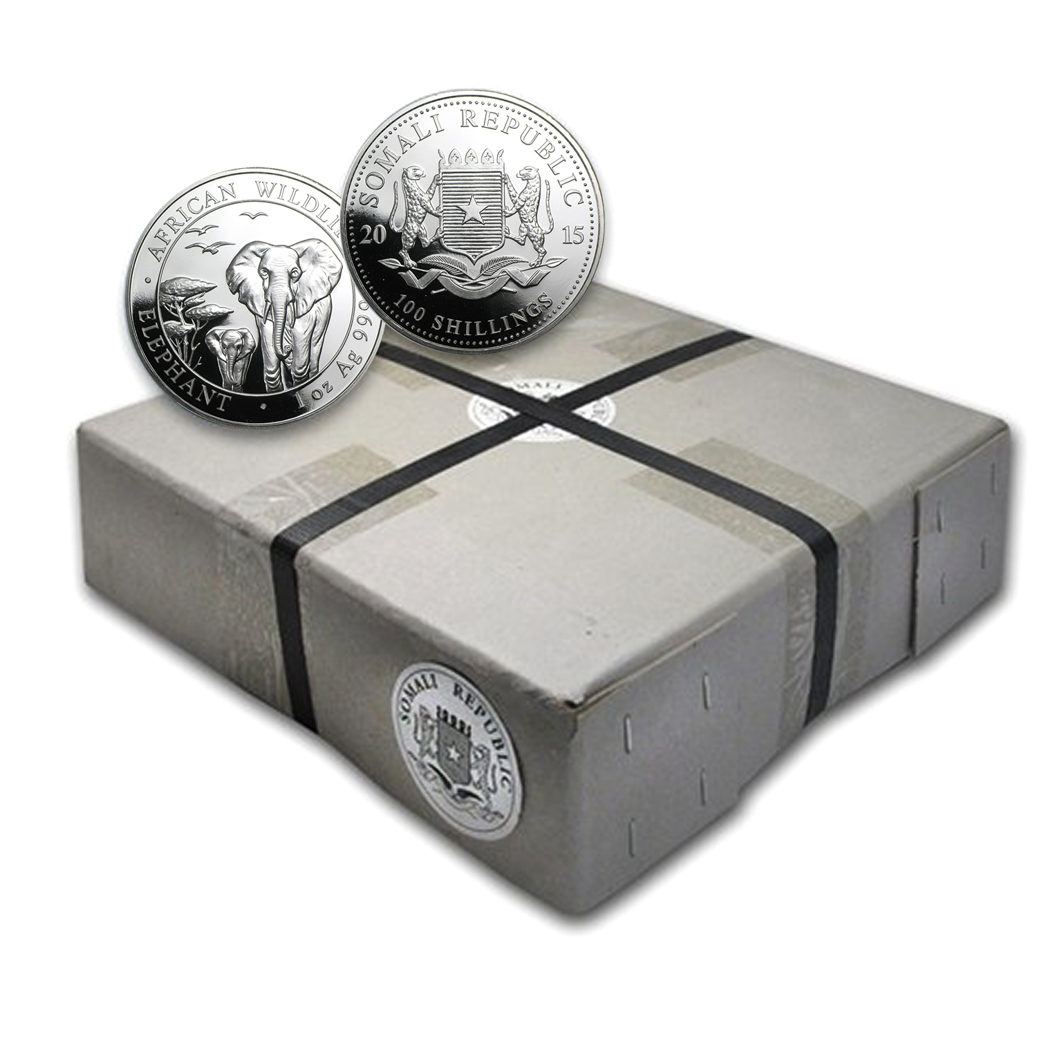2015 1 oz Silver Somalian Elephant (500-Coin Sealed Box)
