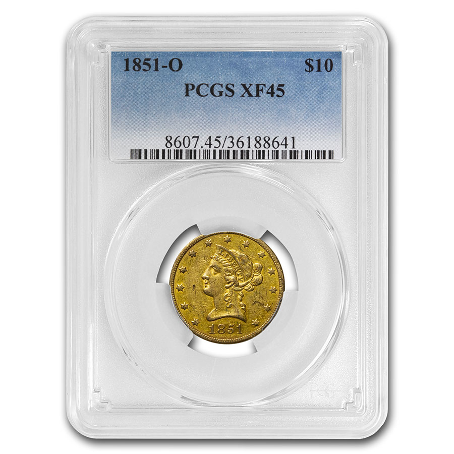 1851-O $10 Liberty Gold Eagle XF-45 PCGS