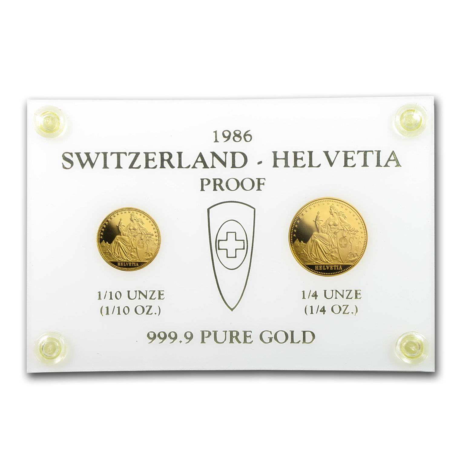 Switzerland 1986 Gold 2-Coin Proof Set AGW 0.35