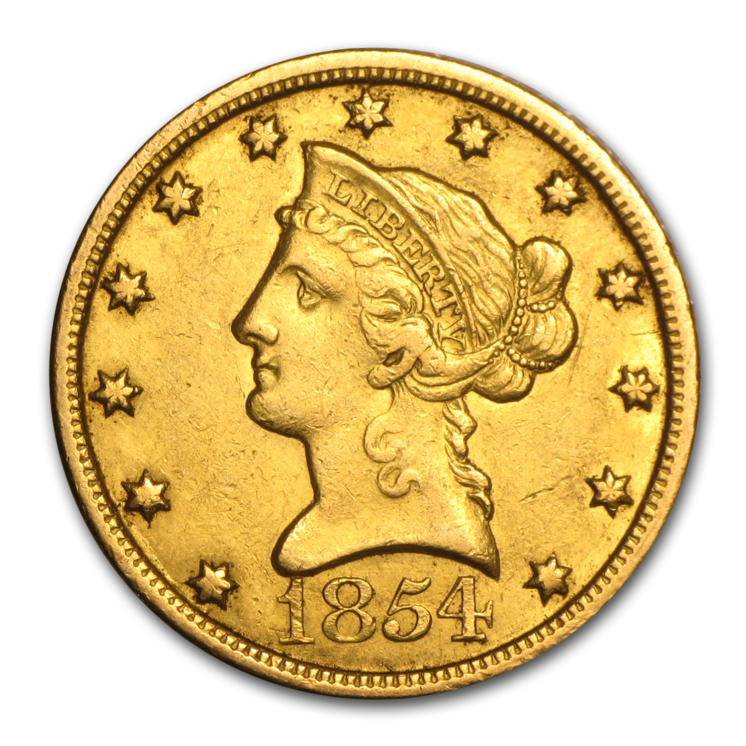 1854-O $10 Liberty Gold Eagle XF Details (Cleaned)