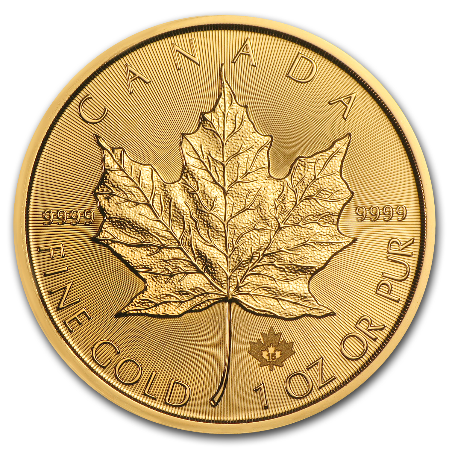 2015 1 oz Gold Maple Leafs (10-Coin MintDirect® Tube)