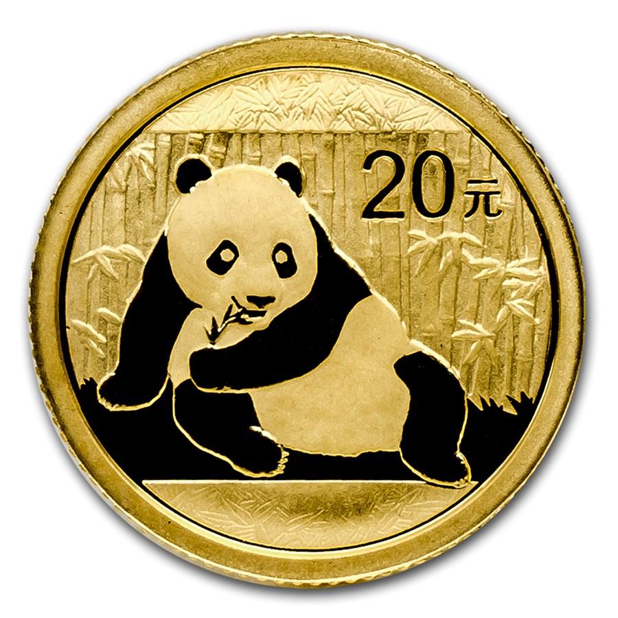 2015 china 1 20 oz gold panda bu sealed 1 20 oz gold pandas apmex. Black Bedroom Furniture Sets. Home Design Ideas