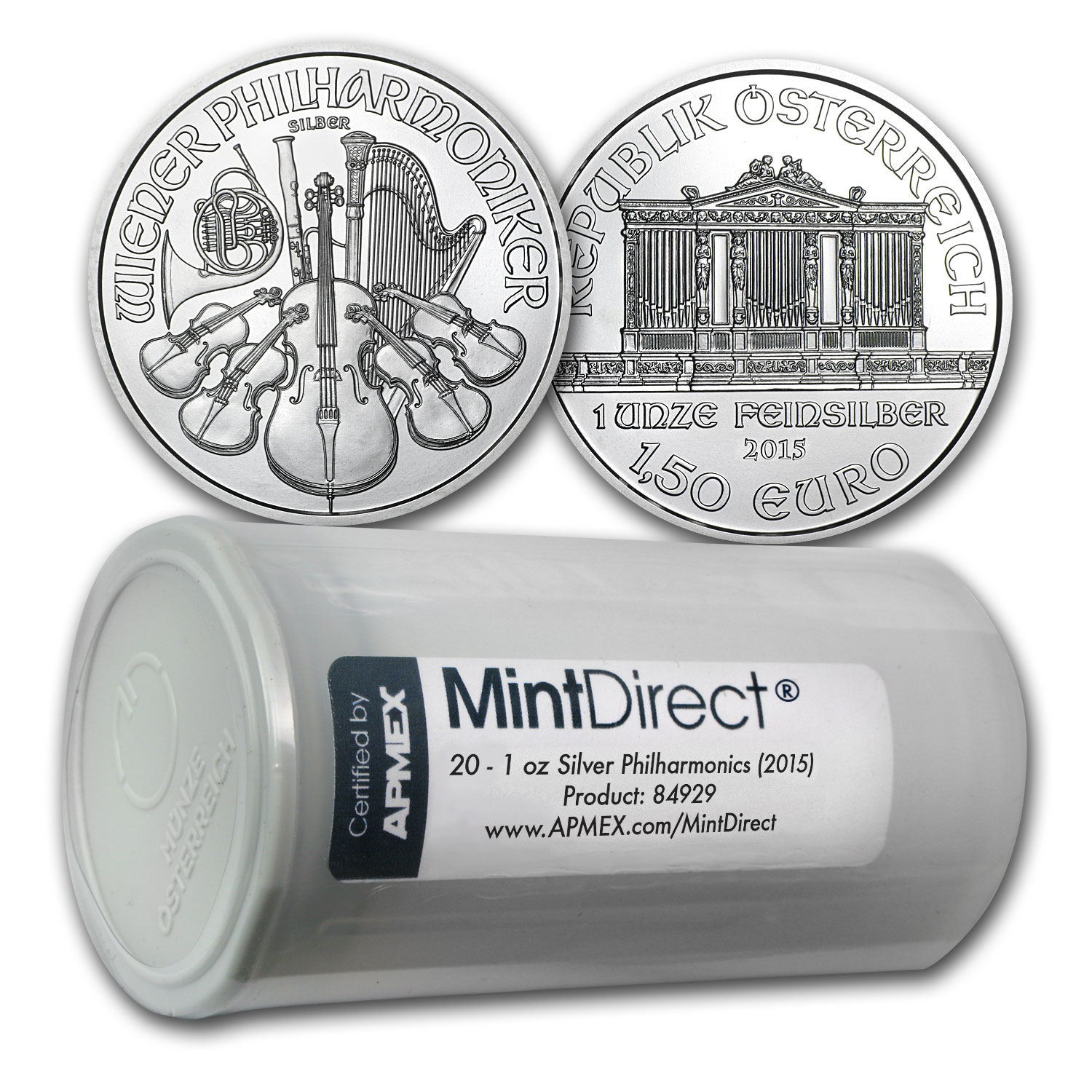 2015 1 oz Silver Philharmonics (20-Coin MintDirect® Tube)