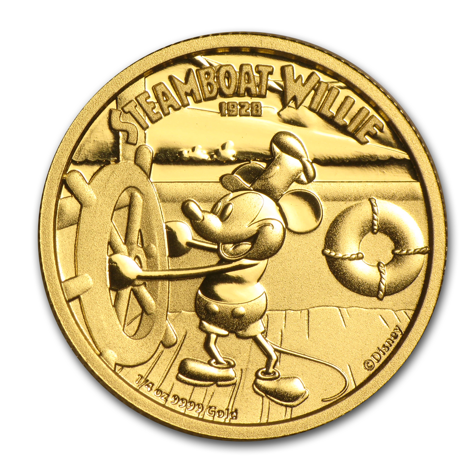 2014 1/4 oz Gold $25 Niue Disney Steamboat Willie