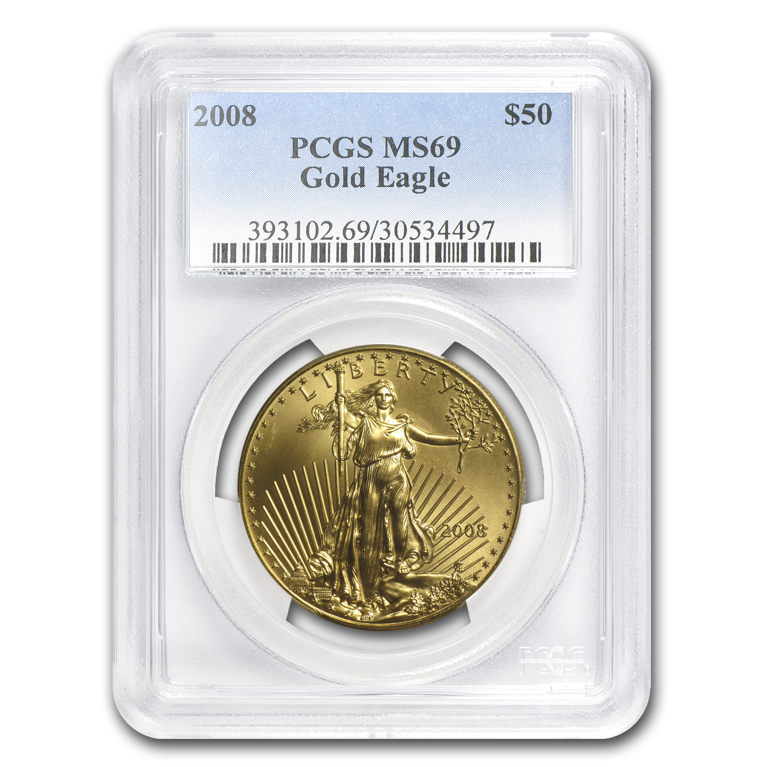 2008 1 oz Gold American Eagle MS-69 PCGS