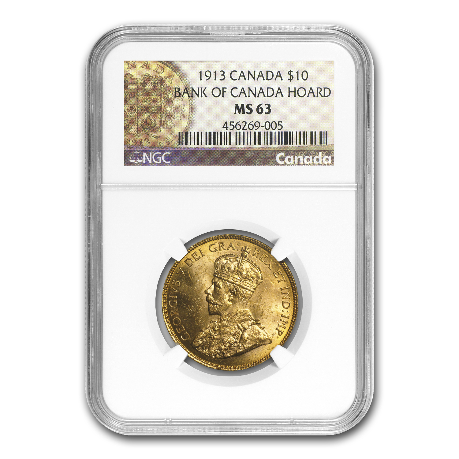 1913 Canada Gold $10 Reserve MS-63 NGC