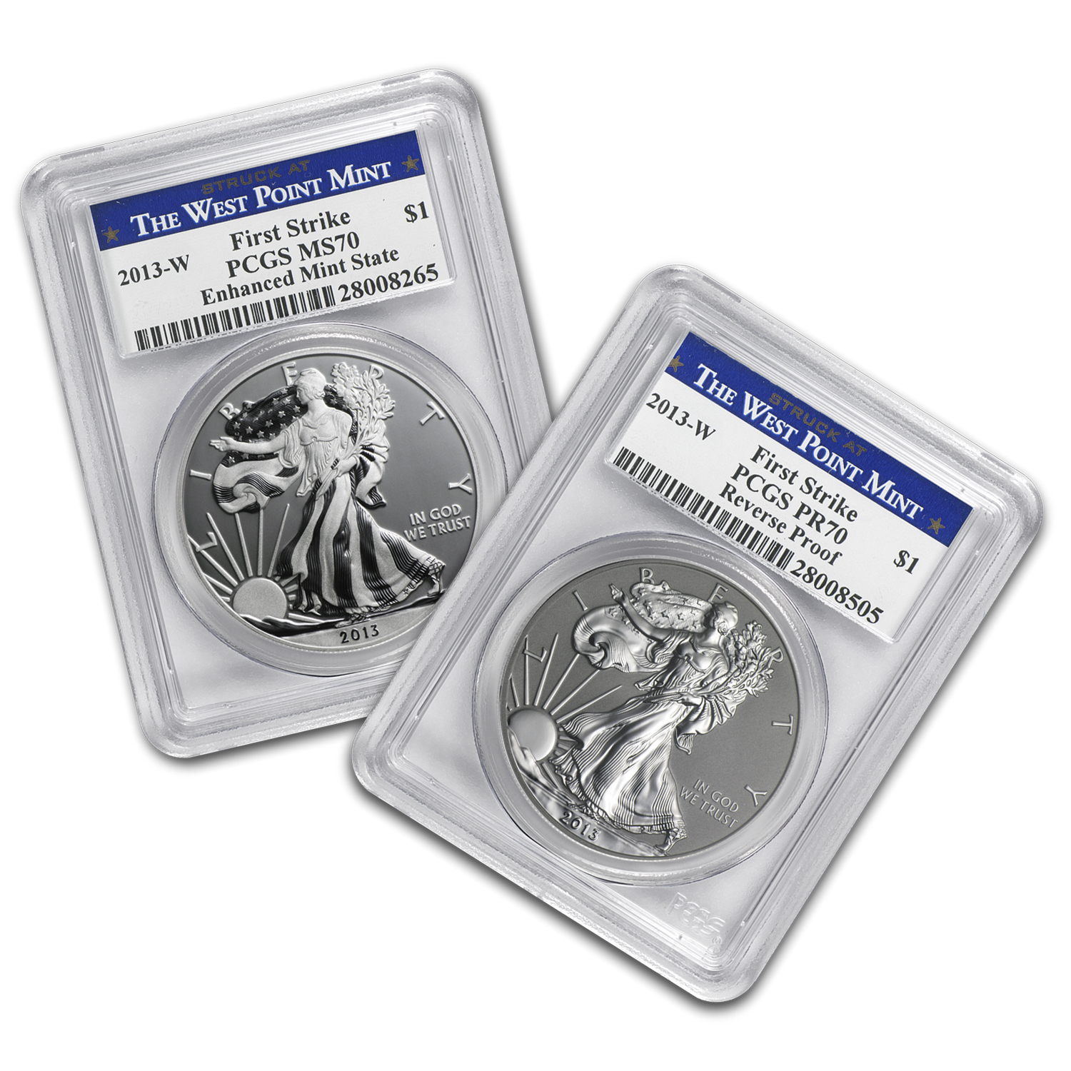 2013 2-Coin Silver Eagle Set MS/PF-70 PCGS (FS, WP, Blue Label)