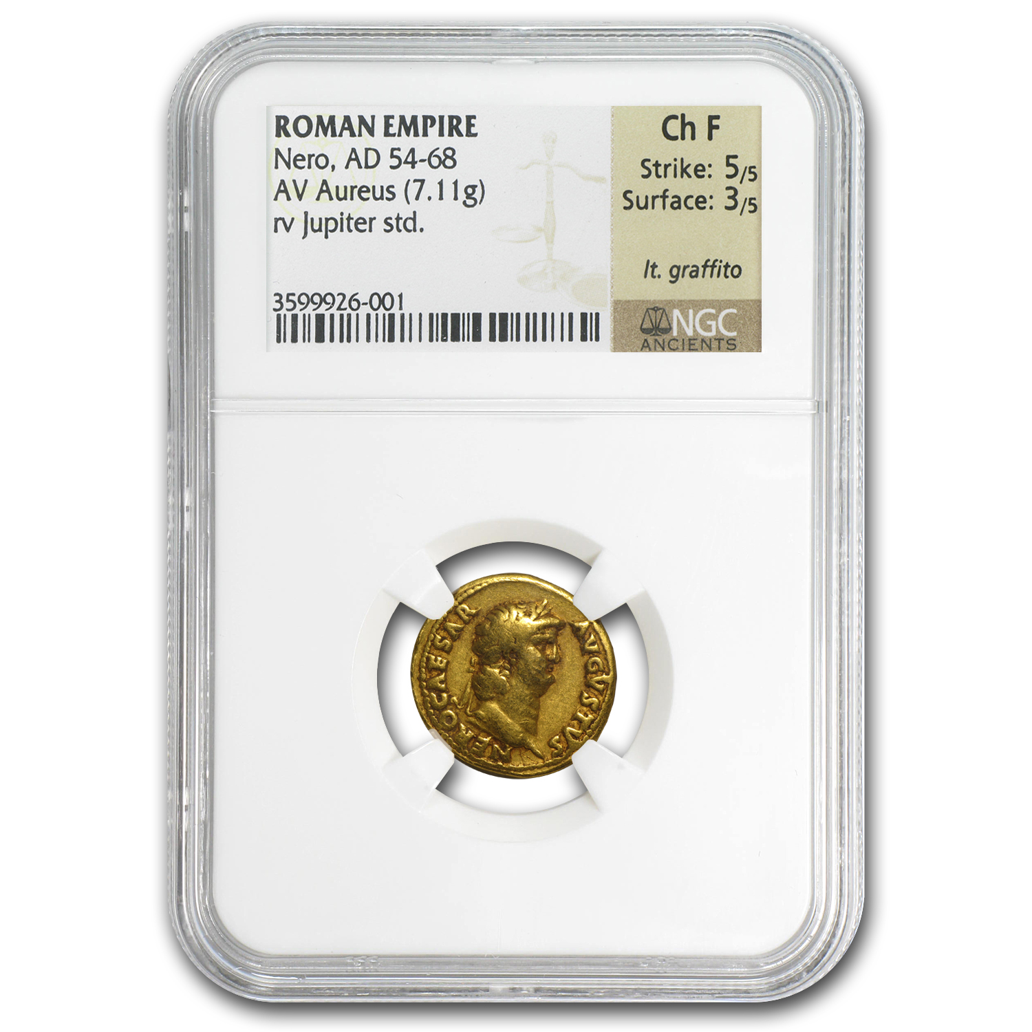 Roman - Gold Aureus of Nero (54-68AD) ChFine NGC