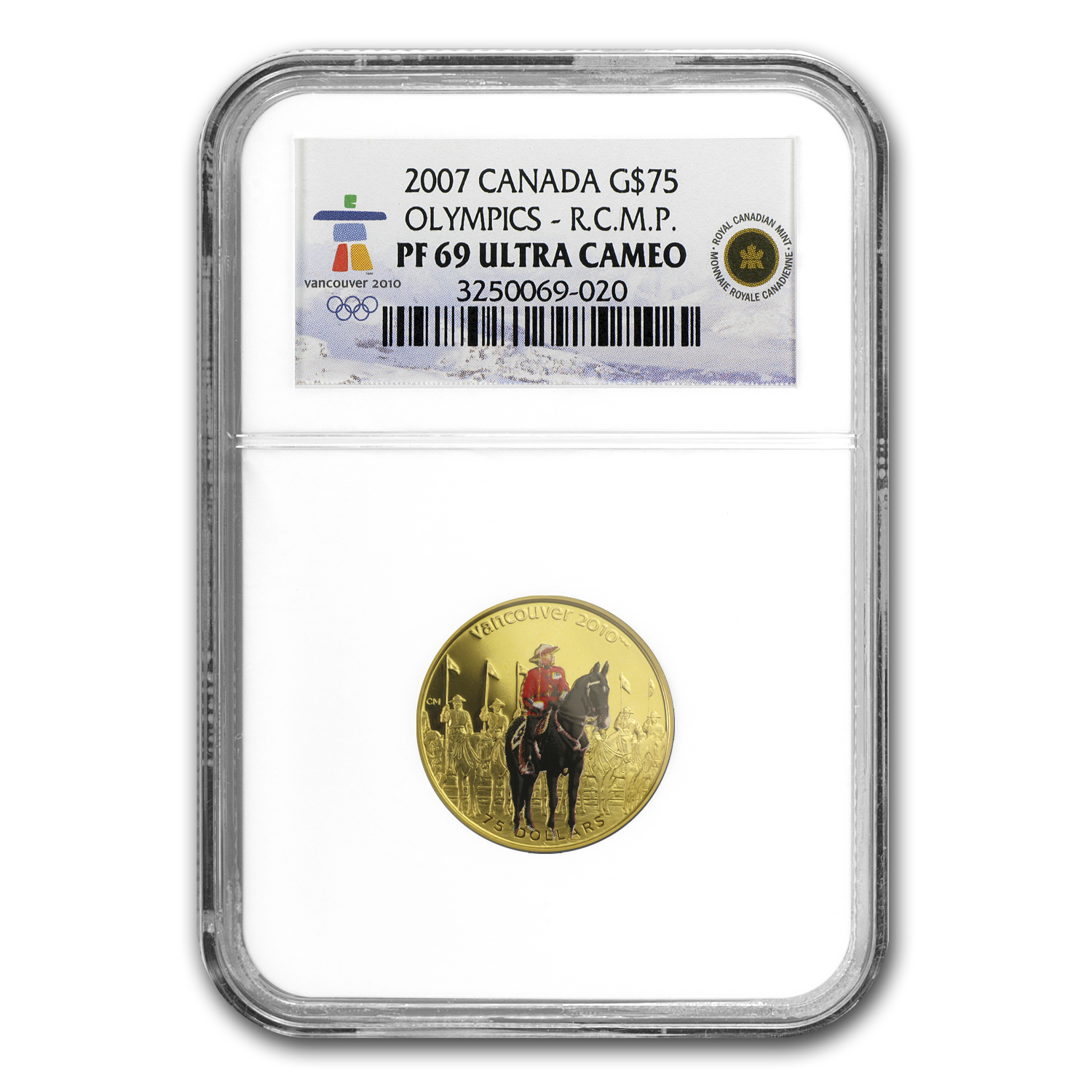 2007 Canada Gold $75 Olympics RC Mounted Police PF-69 NGC