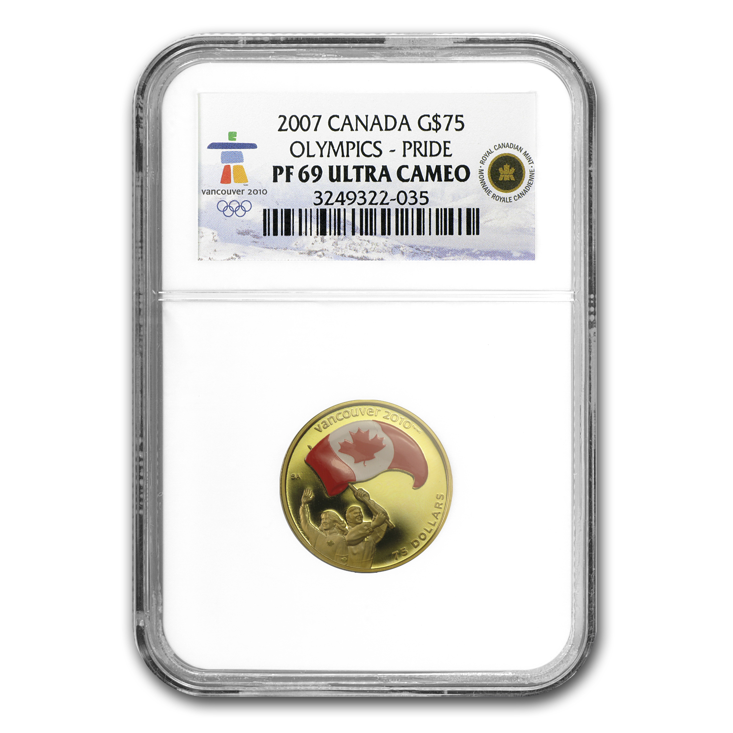 2007 Canada Gold $75 Olympics Athletes Pride PF-69 NGC