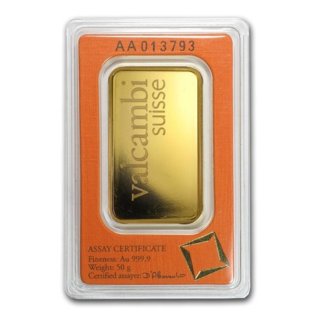 50 Gram Gold Bar Valcambi Pressed W Assay Valcambi