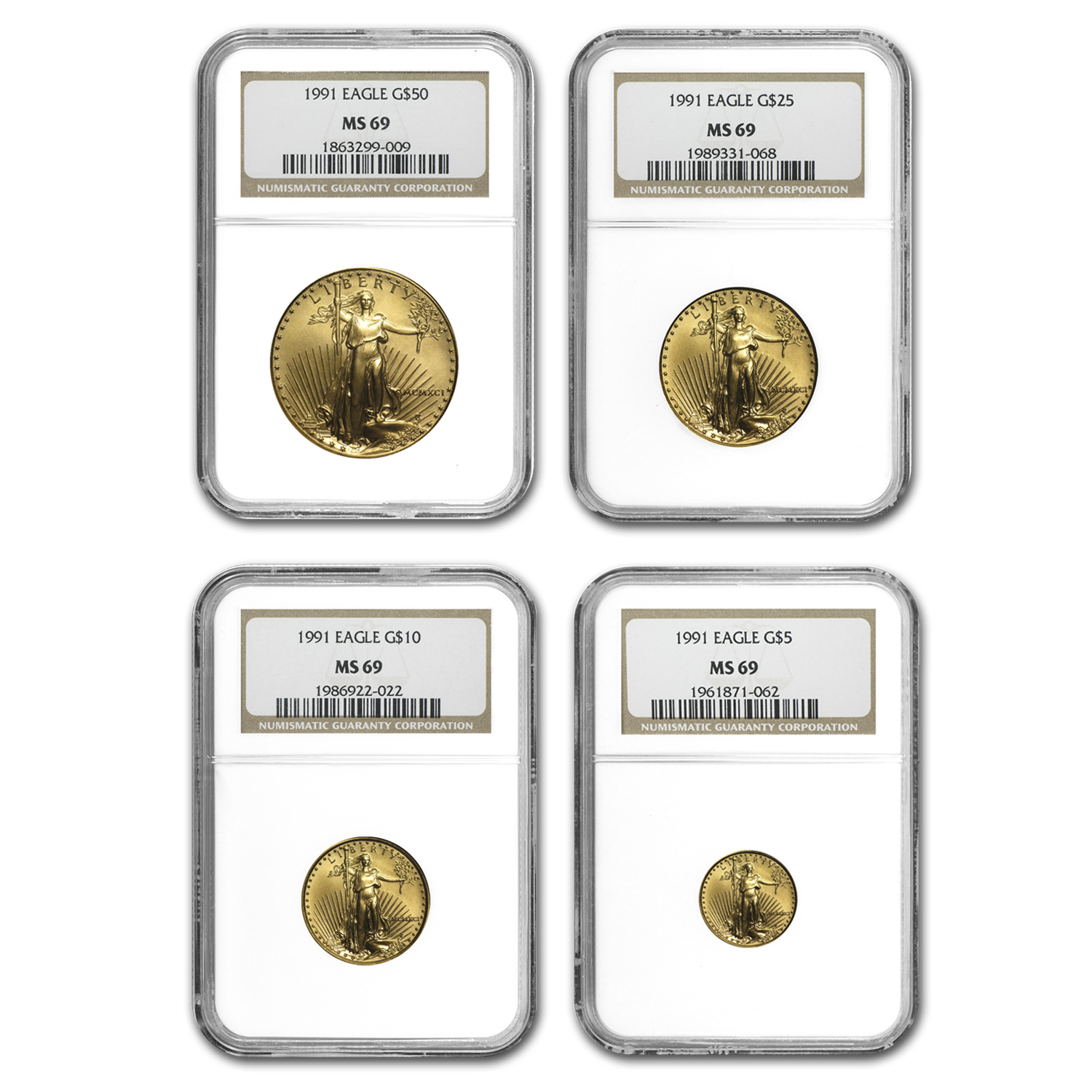 1991 4-Coin Gold American Eagle Set MS-69 NGC