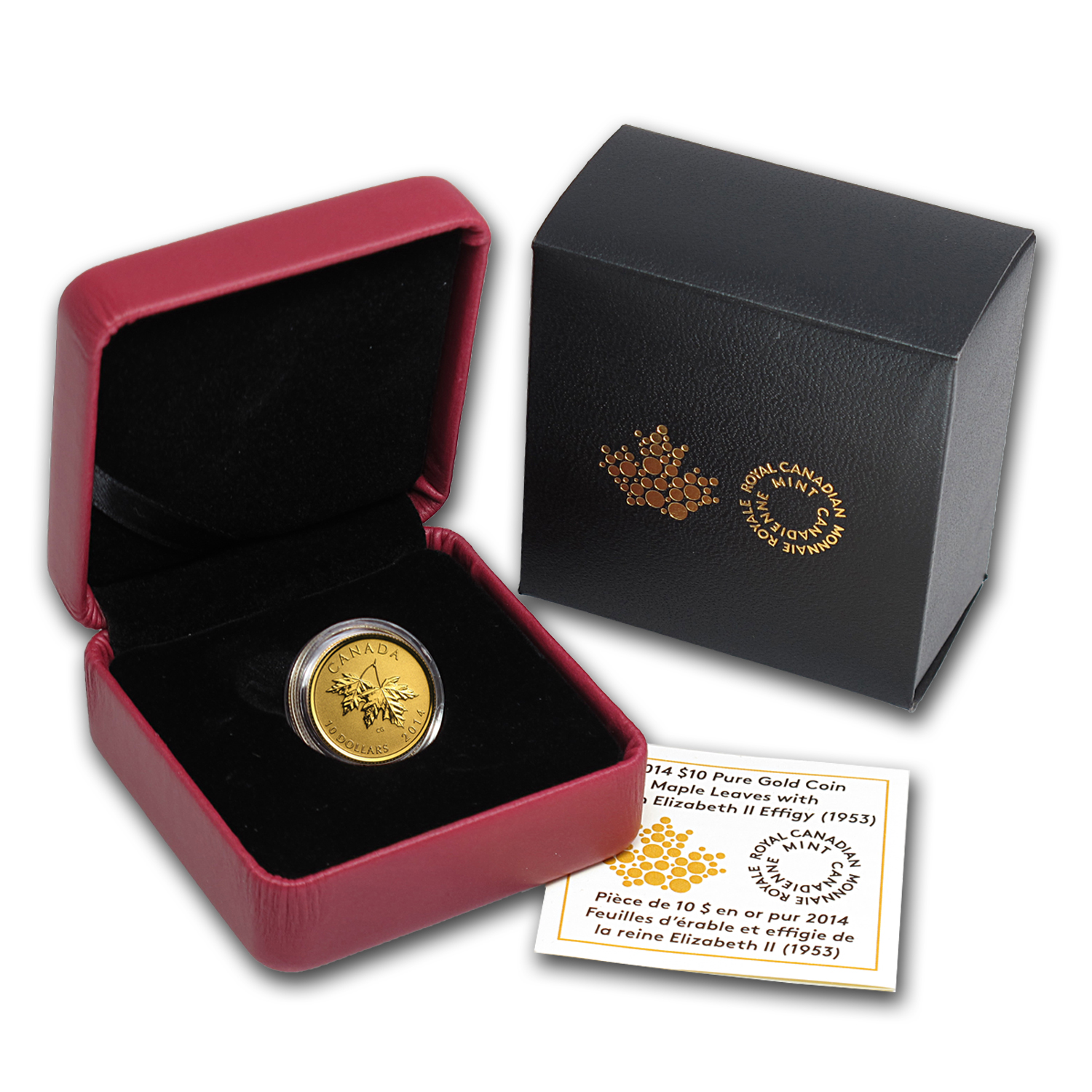 2014 Canada 1/4 oz Gold Maple Leaf Young Queen Elizabeth II