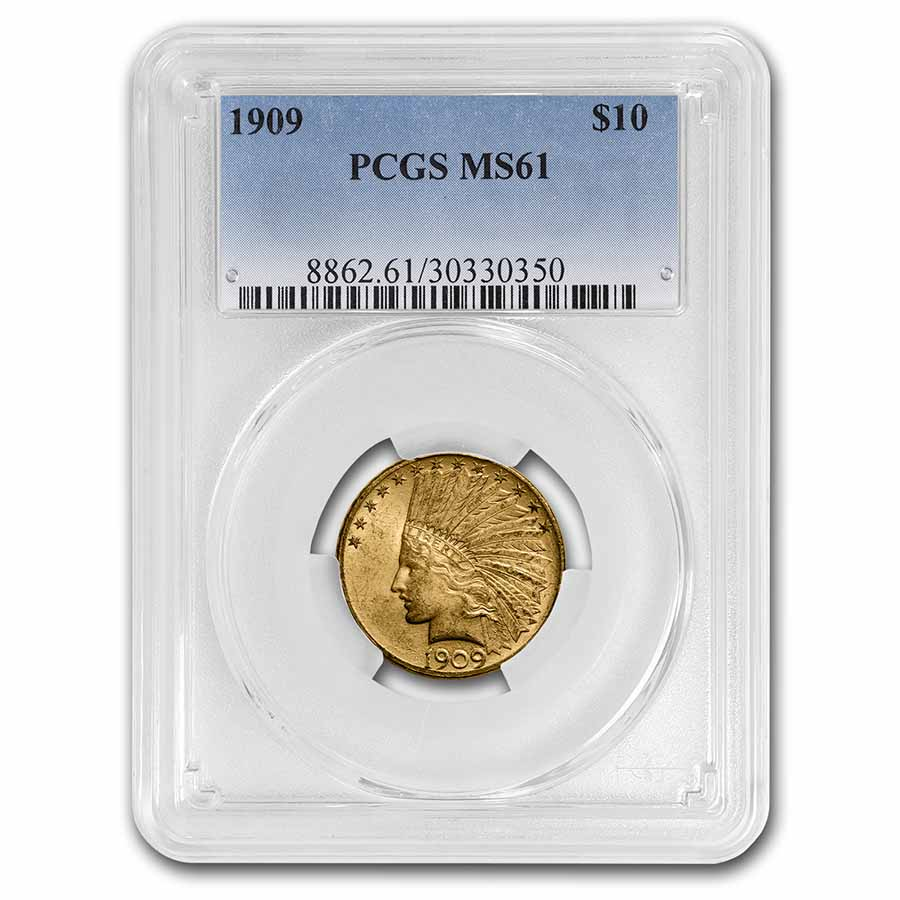 1909 $10 Indian Gold Eagle MS-61 PCGS