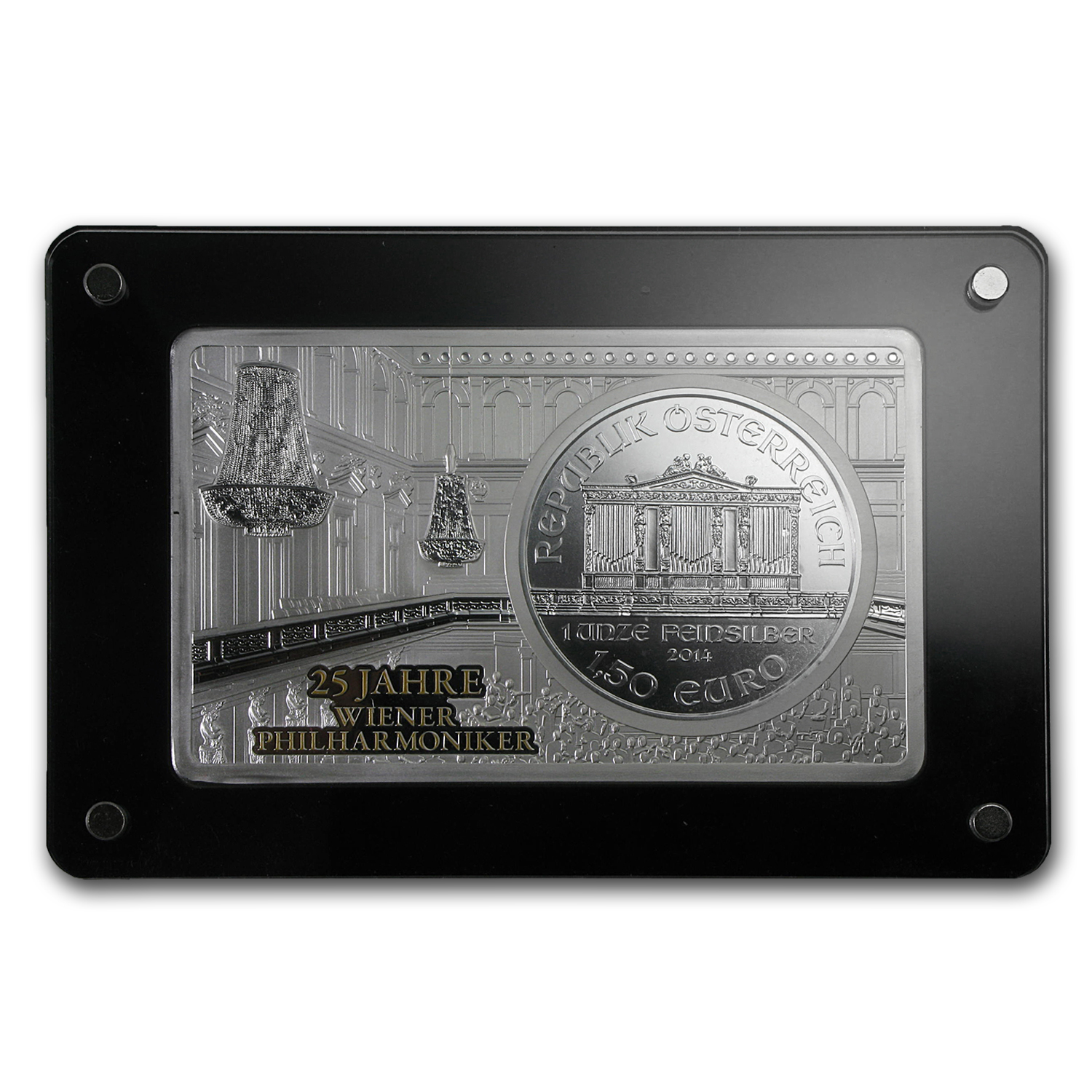 2014 2-Pc Silver Bar & Coin Set (25th Ann of Vienna Philharmonic)