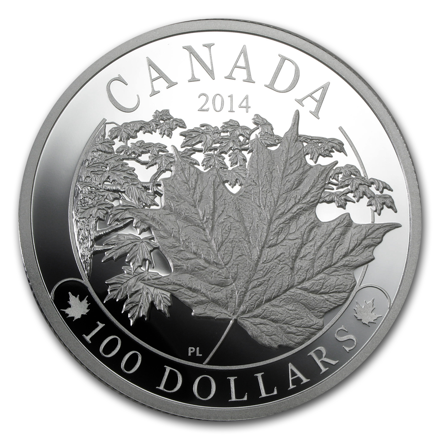 2014 10 oz Silver Canadian $100 Majestic Maple Leaves Proof