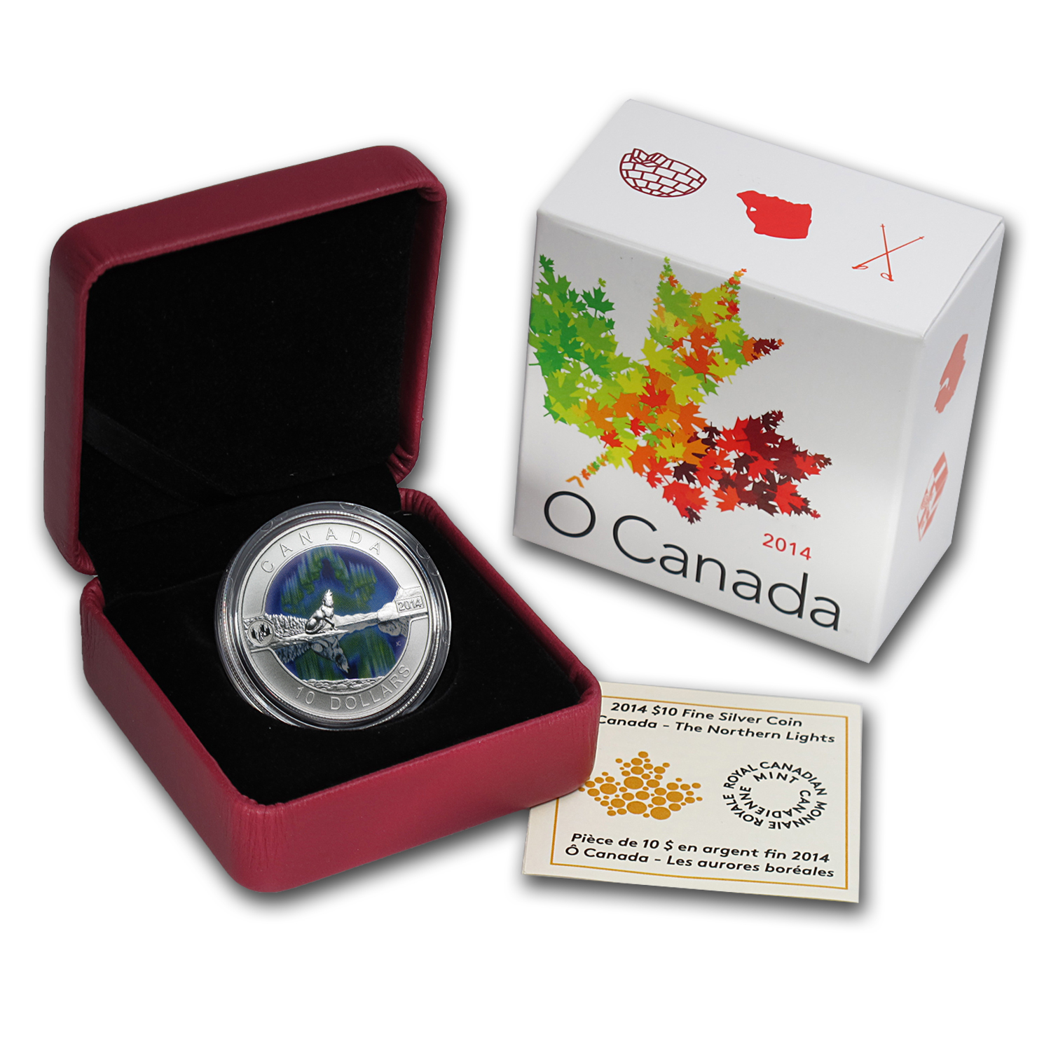 2014 Canada 1/2 oz Silver $10 Northern Lights (w/Box & COA)